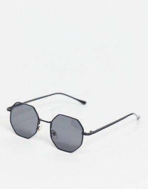 Черные солнцезащитные очки в шестиугольной оправе стиле унисекс -Черный цвет Jeepers Peepers