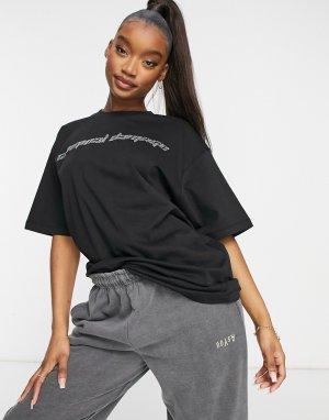 Черная футболка в стиле oversized с логотипом из стразов -Черный цвет Criminal Damage