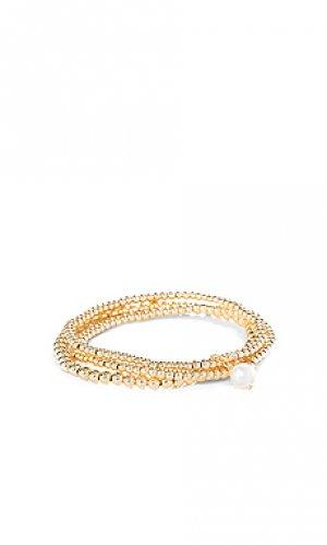Набор браслетов pearl SHASHI. Цвет: металлический золотой
