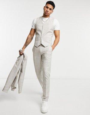 Серые костюмные брюки облегающего кроя с узором в виде штриховки wedding-Бежевый ASOS DESIGN