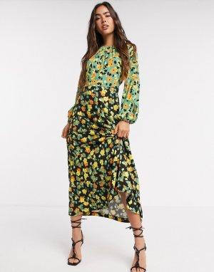 Платье миди с цветочным узором -Многоцветный Closet London