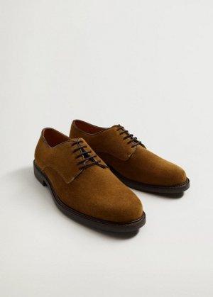 Туфли блюхеры из спилка - Leo Mango. Цвет: песочный