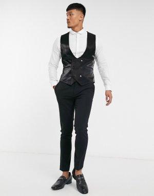 Блестящий черный жилет Twisted Tailor