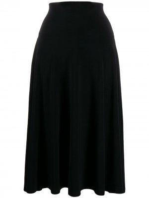 Расклешенная юбка миди Norma Kamali. Цвет: черный