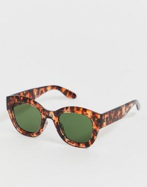 Овальные солнцезащитные очки в толстой черепаховой оправе AJ Morgan. Цвет: коричневый