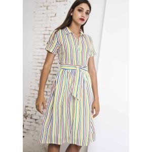 Платье-рубашка в полоску средней длины с короткими рукавами COMPANIA FANTASTICA. Цвет: в полоску зеленый/синий/желтый