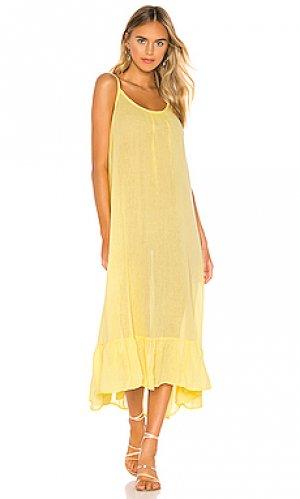 Платье миди gauze Bobi. Цвет: желтый