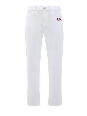 Белые джинсы прямого кроя с принтом Karl Legend LAGERFELD. Цвет: белый