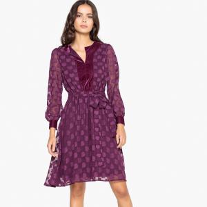 3ccf9d43f92 Платье расклешенное с вышивкой гладью и велюровой вставкой LA REDOUTE  COLLECTIONS. Цвет  бордовый