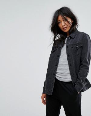 Джинсовая oversize-куртка JDY. Цвет: серый