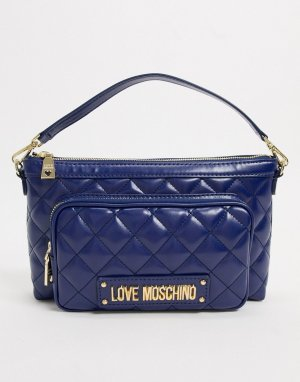 Темно-синяя стеганая сумка через плечо с карманом -Синий Love Moschino