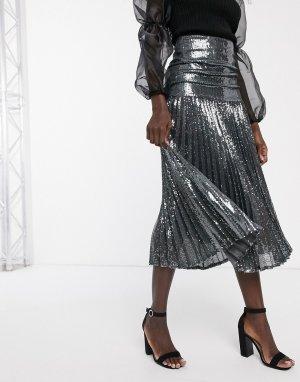 Темно-серое платье макси со складками -Серый Bardot