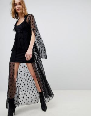 Платье из прозрачной сетки со звездами Anna Sui. Цвет: черный