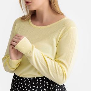 Пуловер с круглым вырезом из тонкого трикотажа CASTALUNA. Цвет: желтый пастельный