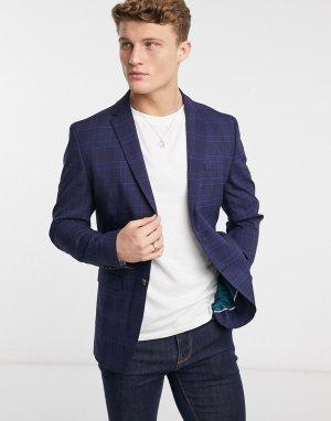Темно-синий пиджак в клетку Selected Homme