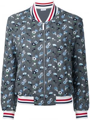 Куртка-бомбер с цветочной вышивкой Thom Browne. Цвет: серый