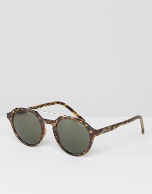 Круглые солнцезащитные очки в черепаховой оправе Harper Komono. Цвет: коричневый