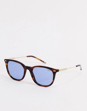Круглые солнцезащитные очки в черепаховой оправе OPH4164-Коричневый Polo Ralph Lauren