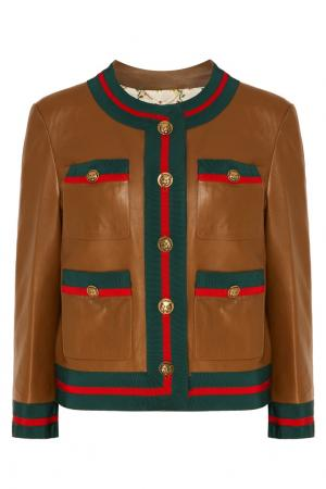 Кожаная куртка с отделкой полосами Web Gucci. Цвет: коричневый