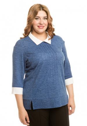 Блуза Luxury Plus. Цвет: голубой