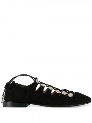 Балетки на шнуровке Toga Pulla. Цвет: черный