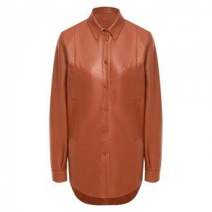 Кожаная рубашка DROMe. Цвет: коричневый