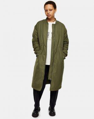Удлиненная куртка-бомбер цвета хаки -Зеленый цвет Topshop
