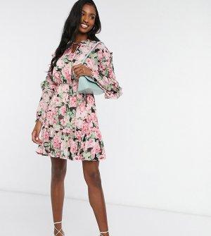 Платье с розовым цветочным принтом -Мульти Vero Moda Tall