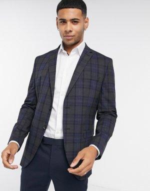 Серый приталенный пиджак в клетку Selected Homme
