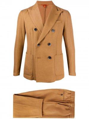 Костюм с двубортным пиджаком Barena. Цвет: коричневый