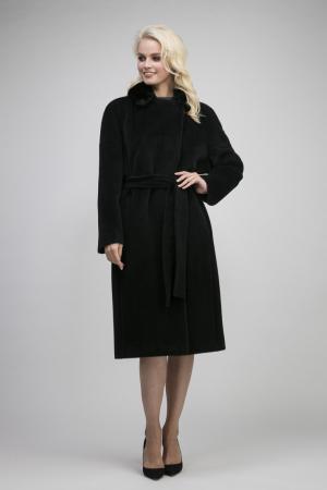 Пальто на большой размер из альпака с мехом норки Leoni Bourget. Цвет: черный