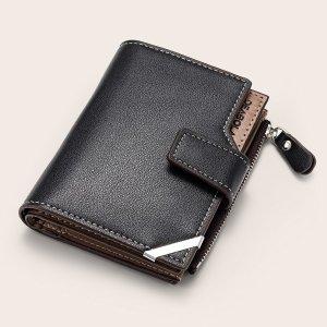 Минималистичный маленький мужской кошелек SHEIN. Цвет: чёрный