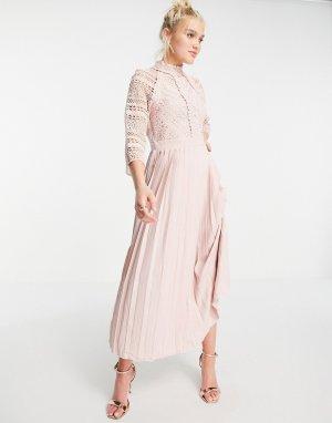 Нежно-розовое платье мидакси с отделкой кружевом -Розовый цвет Little Mistress