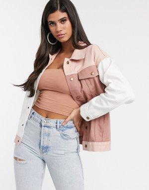 Нюдовая джинсовая куртка в стиле колор блок -Розовый I Saw It First