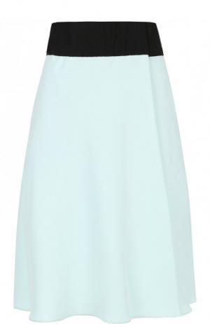 Шелковая мини-юбка с контрастным поясом Giorgio Armani. Цвет: голубой