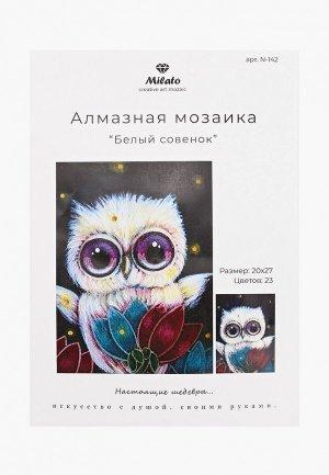 Набор для творчества Милато Алмазная мозайка Белый совенок, 23 цвета. Цвет: разноцветный