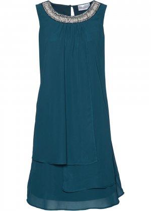 Коктейльное платье класса ПРЕМИУМ bonprix. Цвет: сине-зеленый