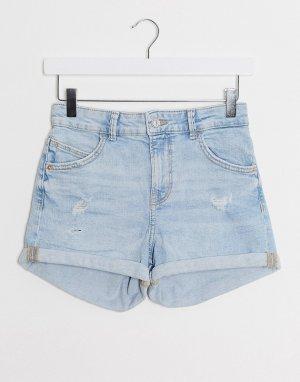 Светло-синие джинсовые шорты с отворотами -Синий Bershka