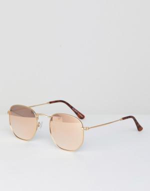 Солнцезащитные очки в шестиугольной оправе цвета розового золота River Island. Цвет: золотой