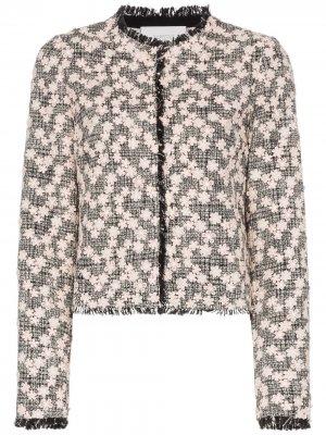 Твидовый пиджак с цветочной вышивкой Giambattista Valli. Цвет: черный