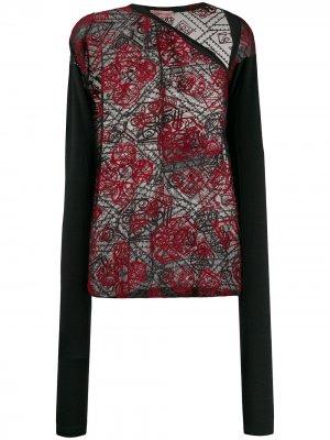 Полупрозрачная блузка 1990-х годов с вышивкой Romeo Gigli Pre-Owned. Цвет: черный