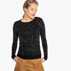 Пуловер с круглым вырезом из тонкого трикотажа LA REDOUTE COLLECTIONS. Цвет: рисунок/фон черный