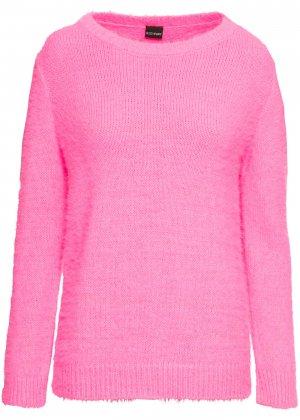 Пуловер неоновой расцветки bonprix. Цвет: ярко-розовый