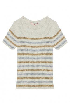 Пуловер цвета экрю с коротким рукавом Bonpoint. Цвет: бежевый