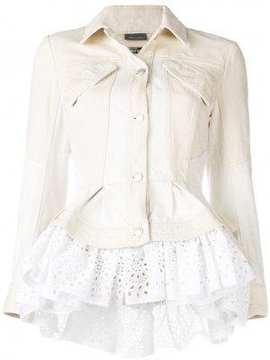 Джинсовая куртка с оборками Alexander McQueen. Цвет: бежевый