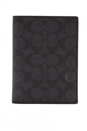 Обложка на паспорт серого цвета Coach. Цвет: черный