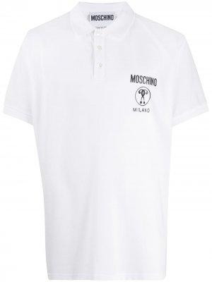 Рубашка поло Double Question Mark Moschino. Цвет: белый