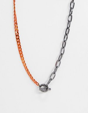 Ожерелье с цепочками бронзового и оранжевого цвета -Серый WFTW