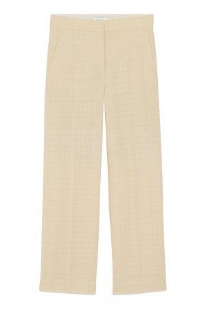 Прямые брюки из твида цвета ванили Sandro. Цвет: бежевый