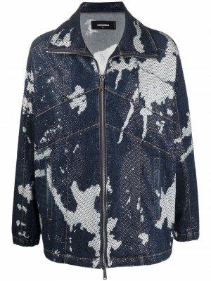 Джинсовая куртка с принтом тай-дай Dsquared2. Цвет: синий